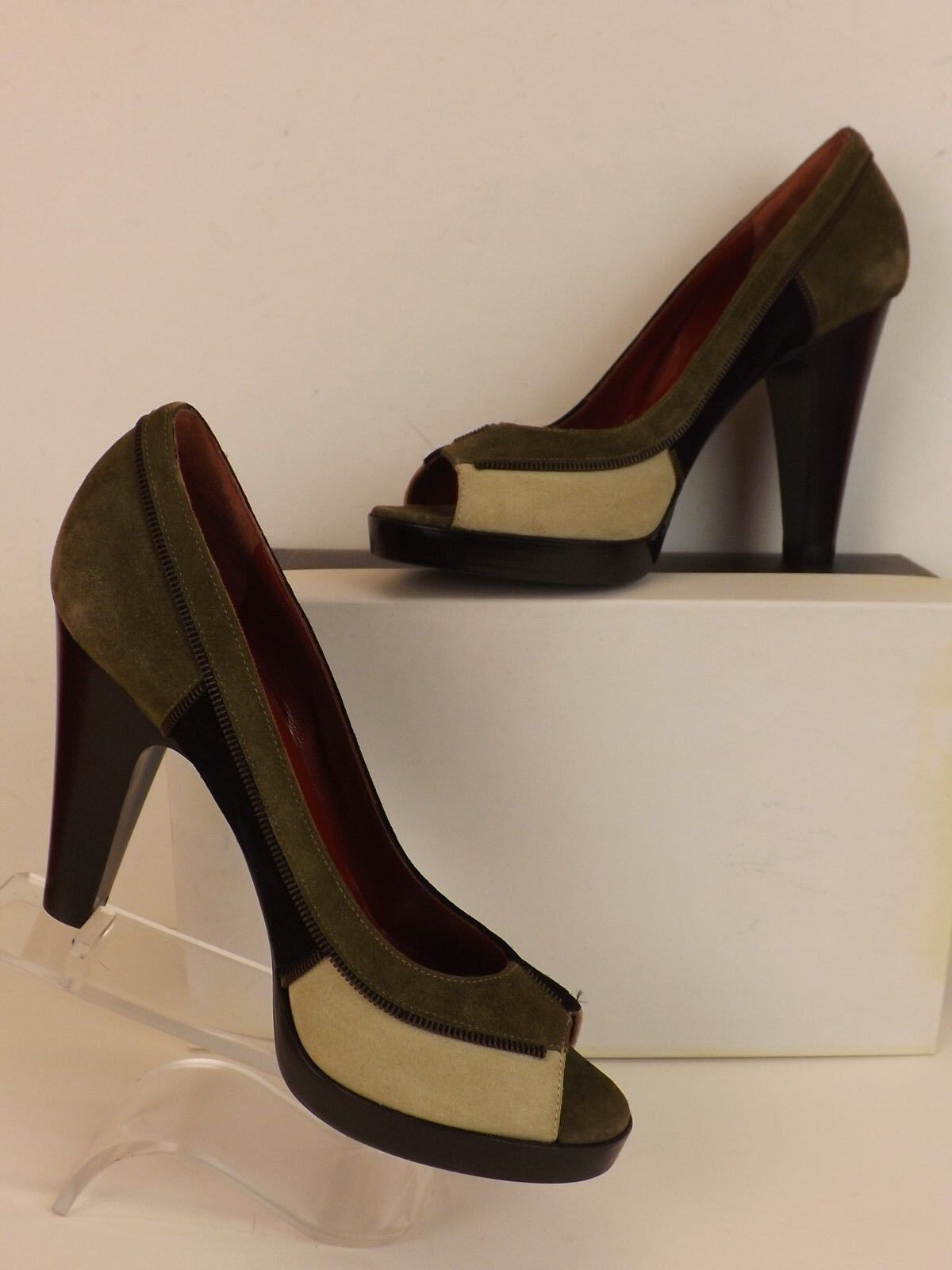 NEW TOE MARC BY MARC JACOBS COLOR BLOCK SUEDE PEEP TOE NEW PLATFORM PUMPS 37.5 ITALY 6221d0