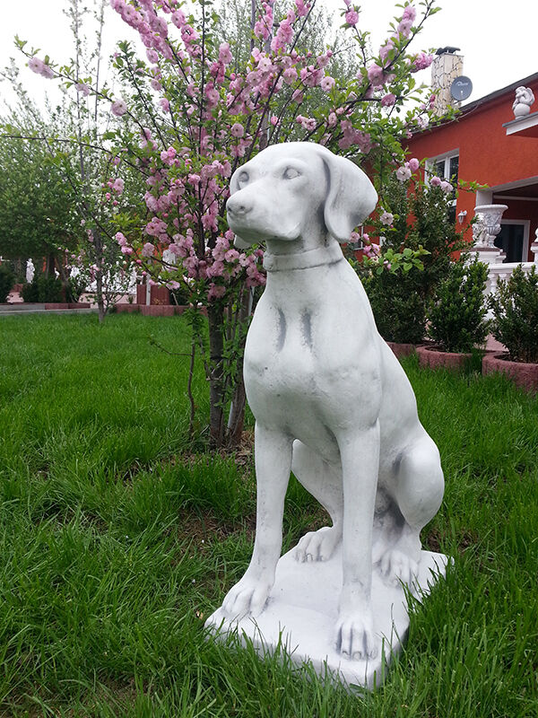 Gartenfiguren, Jagdhund, 70 cm Steinguss, Hund, Tierfiguren, Statuen, Gartendeko