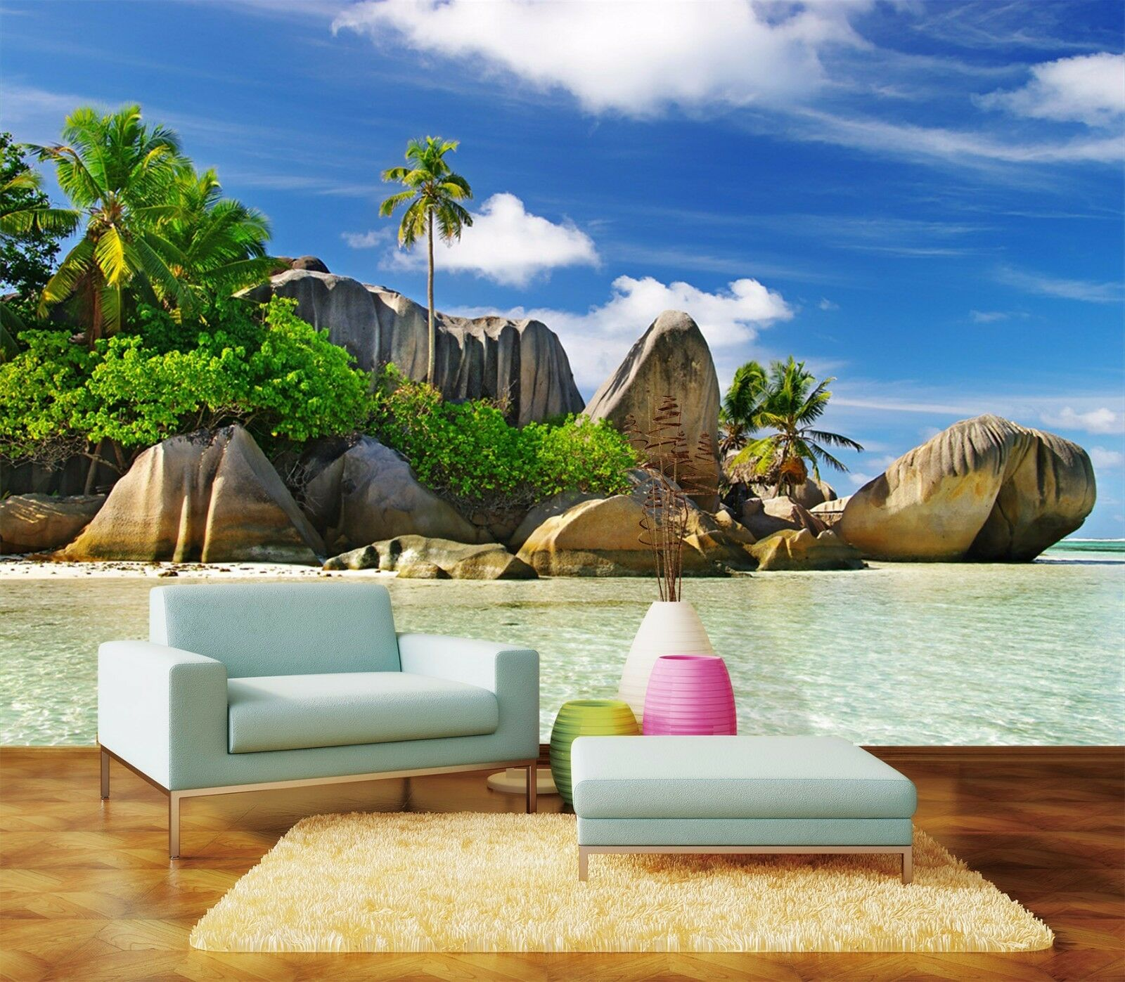 3D Beach Stones 714 Wall Paper Wall Print Decal Wall Deco Indoor AJ Wall Paper