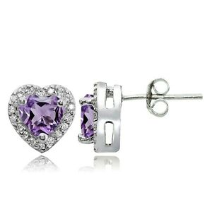 Sterling-Silver-1-35ct-Amethyst-and-White-Topaz-Heart-Stud-Earrings