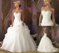 2017New White/Ivory Organza Wedding Dress Bridal Gown Stock Size 6-8-10-12-14-16
