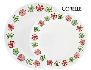 Image is loading 4-pk-Corelle-CHEERFUL-FLURRY-Choose-DINNER-or-  sc 1 st  eBay & 4-pk Corelle CHEERFUL FLURRY Choose DINNER or LUNCH PLATE Holiday ...