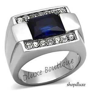 MEN-039-S-EMERALD-CUT-DARK-BLUE-MONTANA-amp-CZ-SILVER-STAINLESS-STEEL-RING-SIZE-8-13