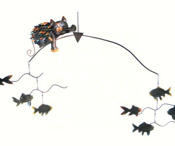 Arte cinético-puntiagudas Gato con Pescado Equilibrador Estaca-geazulg 415