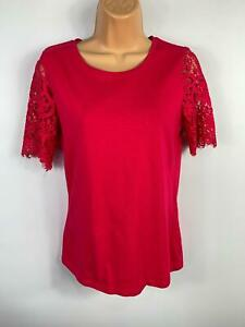 WOMENS-DOROTHY-PERKINS-BRIGHT-PINK-LACE-SHORT-SLEEVE-CASUAL-T-SHIRT-TOP-UK-8
