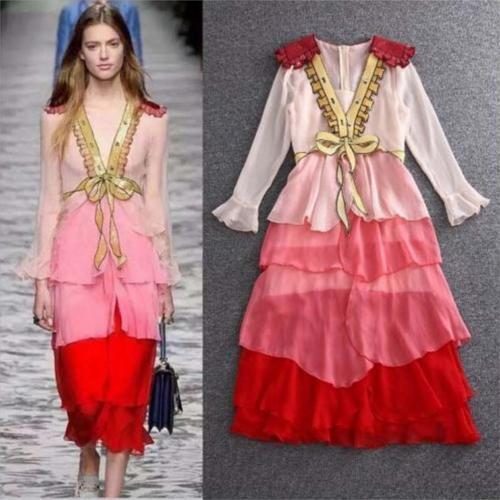 Ladies Embroidery Bowtie Sequin Dress Party Dress Bead luxury Runway Long Sleeve
