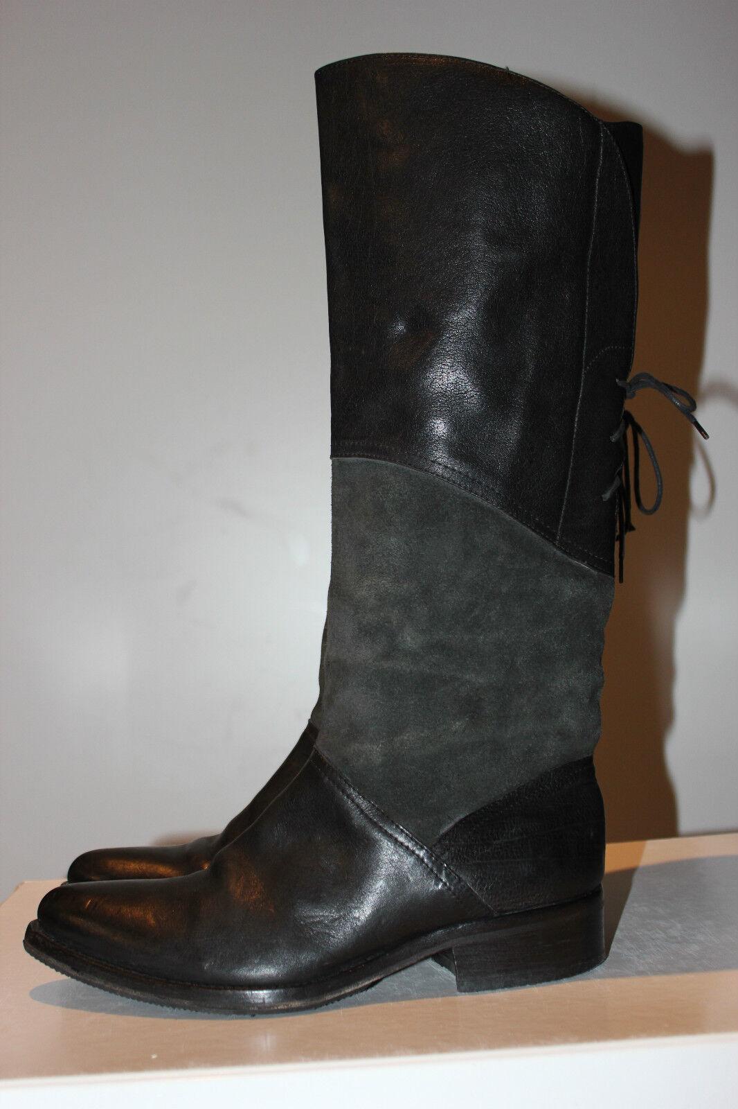 RARITÄT  MOMA Superschöner Gr. Schwarz+Grau Echtleder Kniehohe Stiefel, Gr. Superschöner 38 ba5468