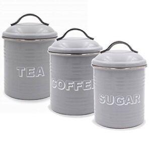 Tea Coffee Sugar Vintage Retro Grey Kitchen Storage Canisters Jars Pots Tin Set Ebay