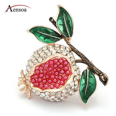 dc667b1177812 Women Full Crystal Red Pearl Rhinestone Enamel Fruit Pomegranate Brooch  Pins | eBay