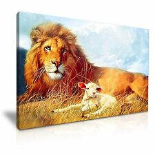 Lion And Sheep Peace Canvas Wall Art Picture Print 76x50cm