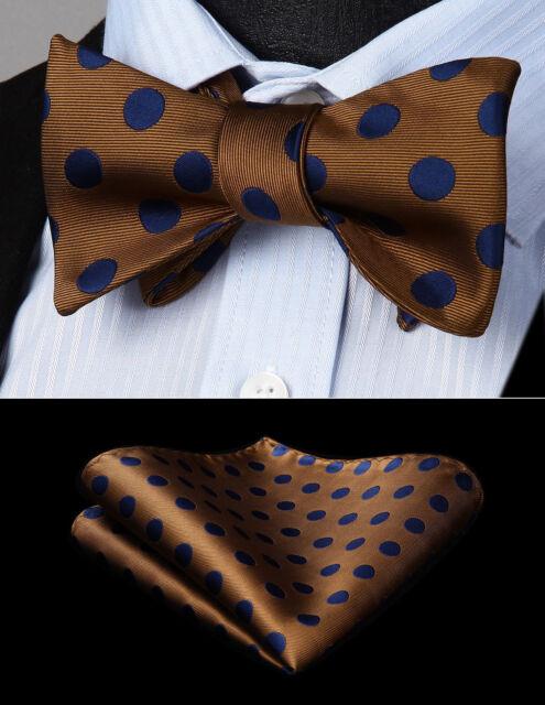 BD704VS Navy Blue Polka Dot Woven Men Silk Self Bow Tie handkerchief set