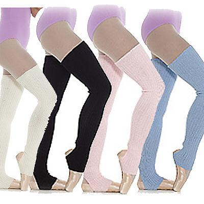 Long Stirrup Leg Warmers Ballet  Dance Warm up Ribbed Blue Pink White Black 90cm