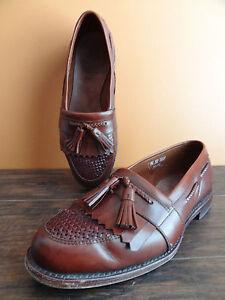 Allen Edmond CODY Brown Leather Men Size 9.5 Weave Tassel Loafer Boat Dress Shoe