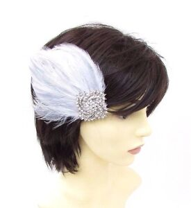 c983a87a8bc Image is loading White-Light-Grey-Silver-Diamante-Feather-Fascinator-Hair-