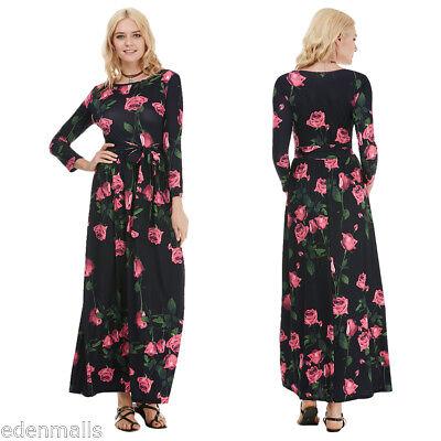 NEW Summer Womens Floral dress Boho Long Maxi Elastic Waist Belt Beach Dresses