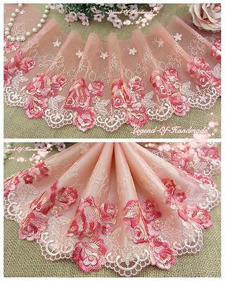 """6""""*1Y Embroidered Floral Tulle Lace Trim~Deep Pink+Cream+Red~The Fragnance~"""