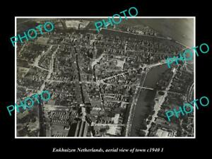 OLD-LARGE-HISTORIC-PHOTO-ENKHUIZEN-NETHERLANDS-HOLLAND-TOWN-AERIAL-VIEW-c1940-2