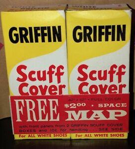 2 Vintage Original FULL BOXES OF GRIFFIN WHITE SELF-SHINING Shoe Polish Unused