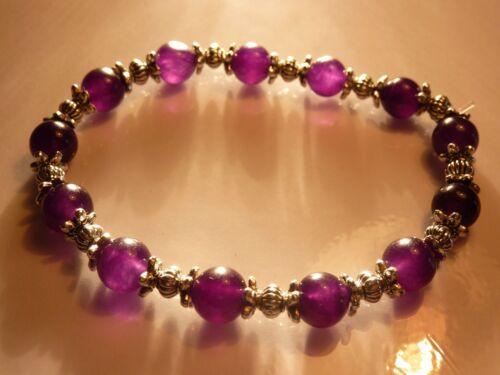 Bracelet AMETHYSTE 8 MM /&ARGENT DU TIBET  Litho-Reiki
