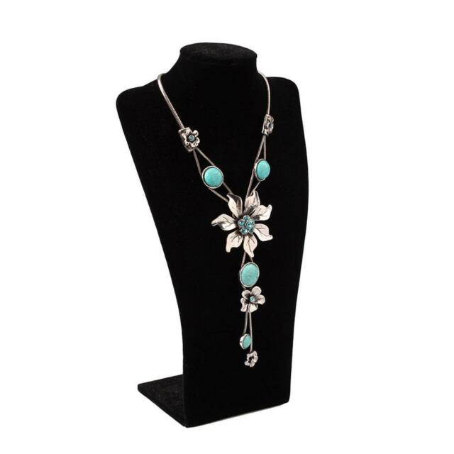 """Attractive Flower Turquoise Necklace Pendant 19"""" Blue Jewelry Gift Hot Selling"""