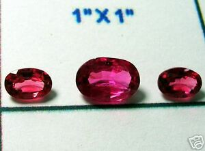 1-4-Ct-SPINEL-FACET-OVAL-3-SPARKLING-GEMSTONE-LOT-Vivid-Pink-Jewelers-Special