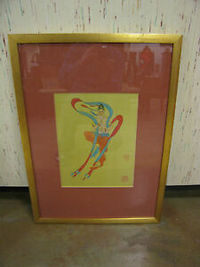Vintage-Asian-Indian-Painting-on-Silk-of-Figure-Playing-Flute-Stamped-Markings