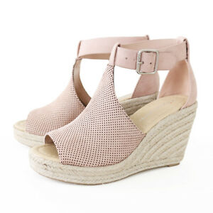 26c46fd0febb Image is loading Ankle-Strap-Perforated-Faux-Suede-Espadrille-Wedge-Platform -