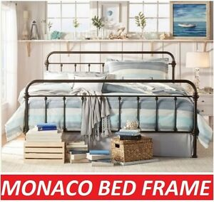 Monaco King Single Double Queen King Size Black White Metal Bed