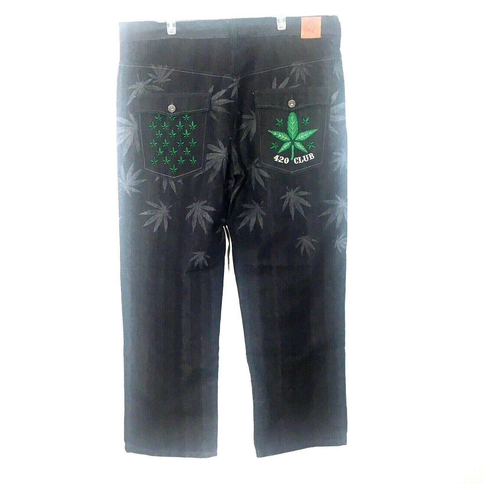 Square Zero Jeans W42 x 34L 420 Club Marijuana Leaf Dark Wash Straight Leg NWT