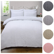 Highams Seersucker Duvet Cover with Pillowcase Bedding Set from 12.50