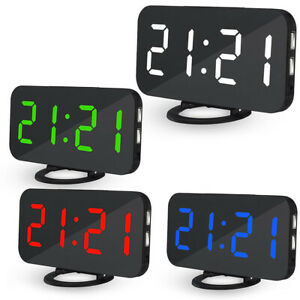 Reveil-Horloge-Digital-Bureau-Luminosite-Reglable-Avec-Port-De-Chargement-Usb