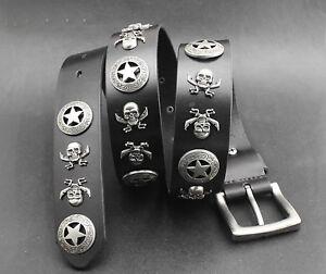 Mens-Motorcycle-Gothic-Biker-Punk-Rocker-Skull-Genuine-Leather-Belt-Waist-Band