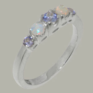 Solid-18k-White-Gold-Natural-Tanzanite-amp-Opal-Womens-band-Ring-Sizes-J-to-Z