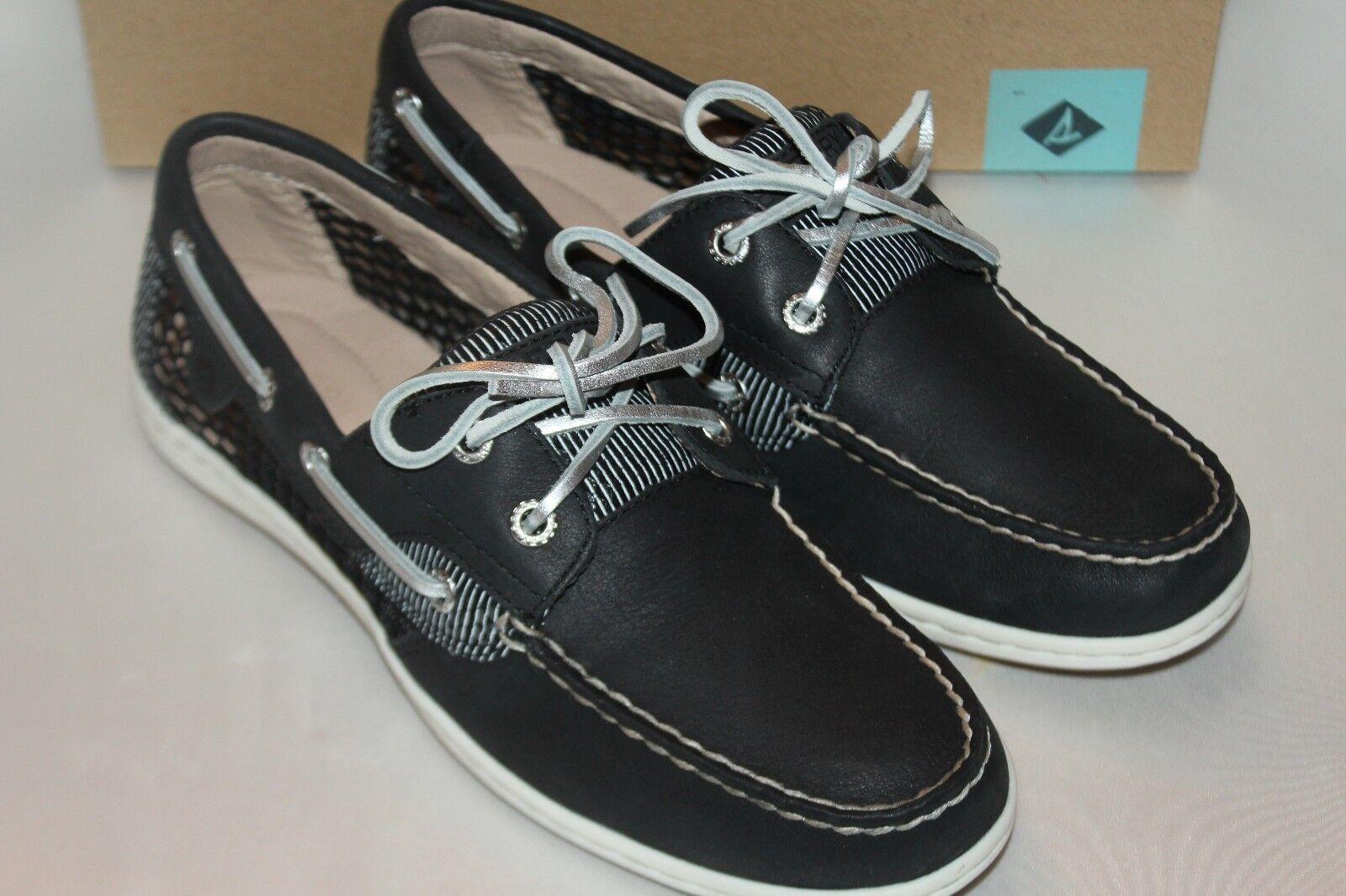 nouveau!nib!sperry haut sider koifish noir maille en cuir noir koifish des chaussures de bateau sz 6 8.5 9 9.5 0e8c2d