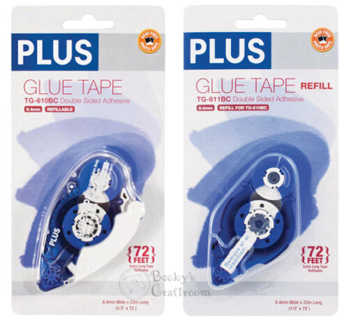 """PLUS Glue Tape Adhesive Roller Permanent Refillable 1/3"""" x 72' & 1 Refill!"""