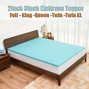 Cooling-Gel-Memory-Foam-Bed-Mattress-Pad-Cover-Topper-Queen-King-Full-Twin-XL