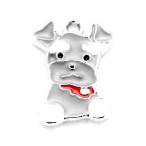 10pcs-Gray-Alloy-Enamel-Pendants-Smooth-Dog-Metal-Cute-Animal-Charms-22x15-5mm