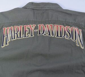 Mens-Small-Harley-Davidson-Motorcycles-Army-Green-Embroidered-Graphic-Shirt