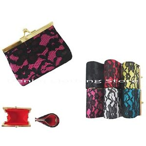 6pcs Lace Flower Kiss Lock Wallet Coin Change Key Case Bag Purse Wholesale Lot
