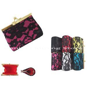6pcs Lace Flower Kiss Lock Wallet Coin Change Key Case Bag Purse Wholesale Lot