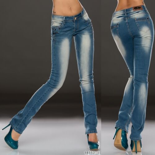 262 mozzafiato STRETCH MID RISE 5 tasche Jeans Skinny LAVATA BLU TAGLIA 8 - 16