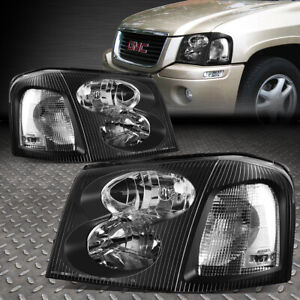For 02 09 Gmc Envoy Black Housing Clear Corner Headlight