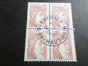 FRANCE BLOC timbres 2119 SABINE, oblitéré 1981 cachet rond, QUARTINA