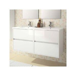Meuble de salle de bain toilette 120 cm suspendu avec - Meuble salle de bain avec lavabo ...