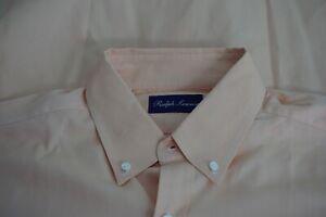 Ralph-Lauren-Purple-Label-Peach-Orange-Button-Down-Collar-Cotton-Shirt-Sz-L