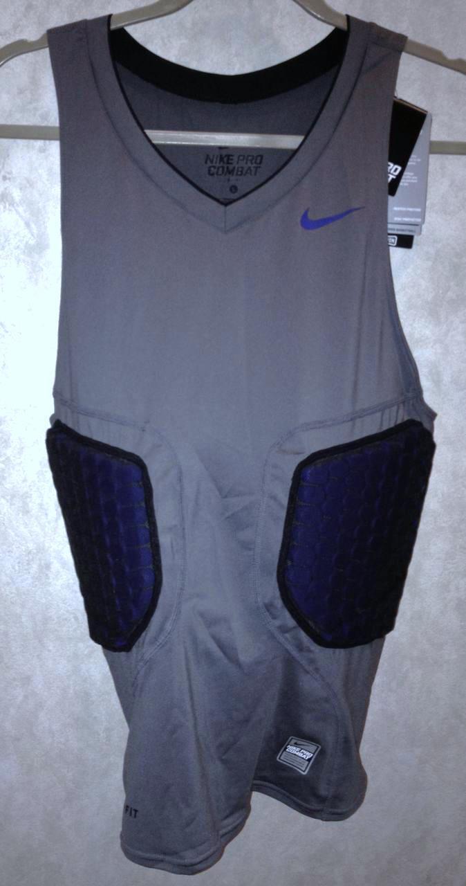 NIKE Pro Combat Deflex Padded Grey Bl Basketball Compression Shirt Tank Mens 2XL