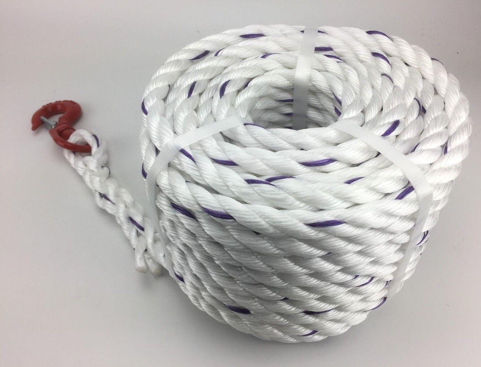 16mm weiß POLYSTEEL Seil 35 35 35 m Dreh Haken Baumpfleger Rigg Fall Seil b5cee7