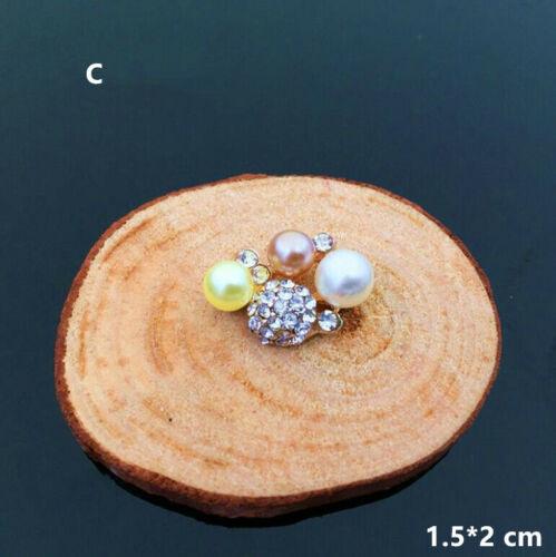 10Pcs Embellishment Rhinestone Faux Pearl Flower Wedding Flatback Buttons Crafts