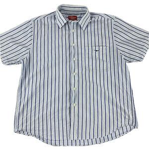 RM Williams Mens Button Up Short Sleeve Shirt Blue Stripe Size L