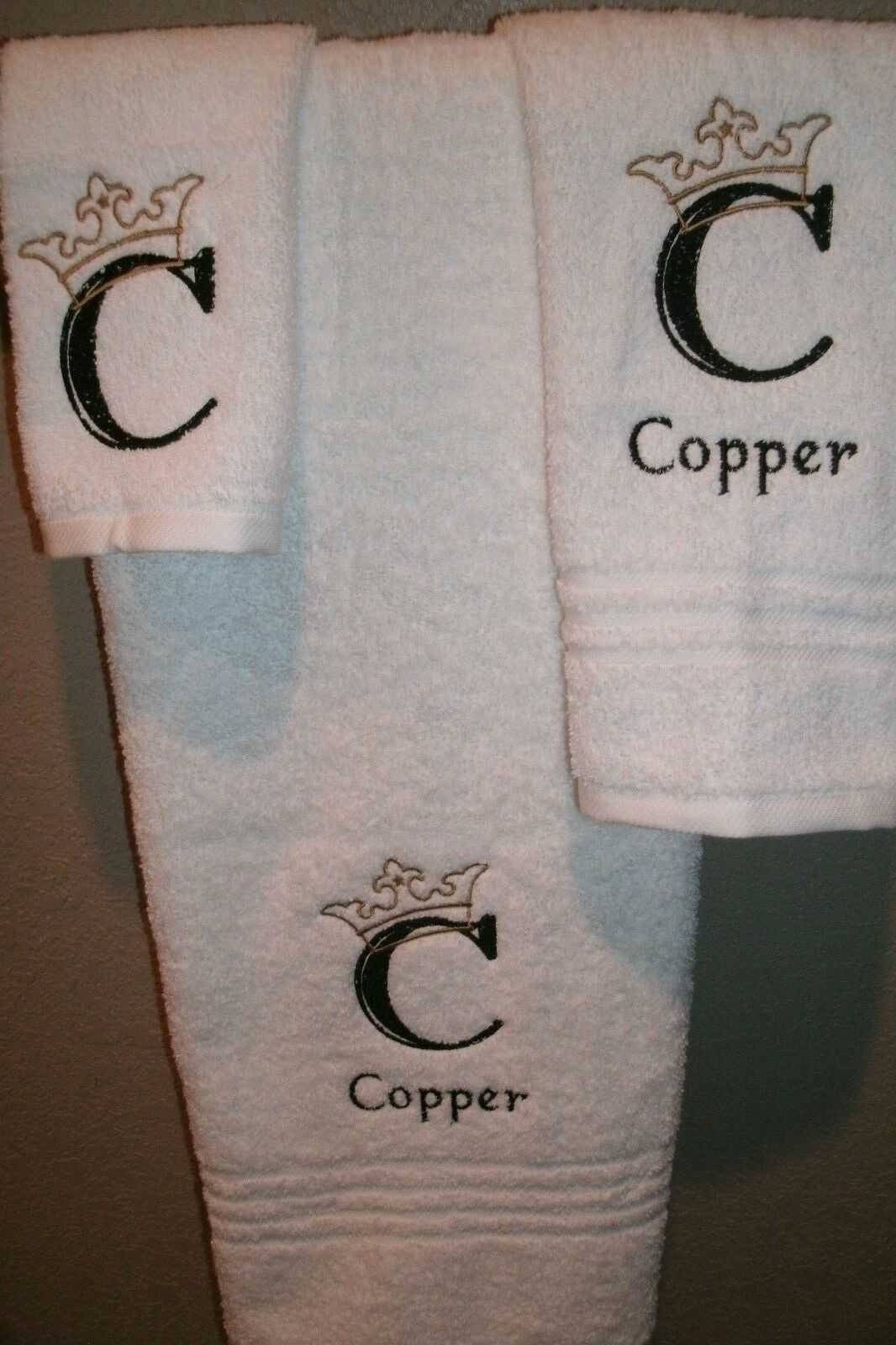 Monogram Crown Engraved Letter Personalized 3 Piece Bath Towel Set ANY COLOR
